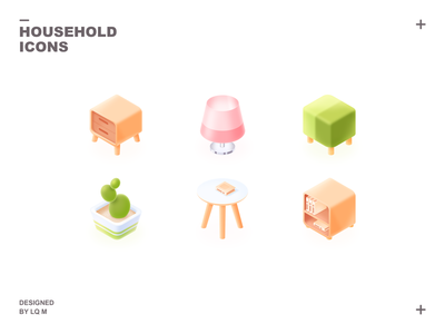 Isometric Household Icons isometric icons isometric cactus side table stool lamp bookcase table plant furniture bedside table icon 2.5d ui photoshop