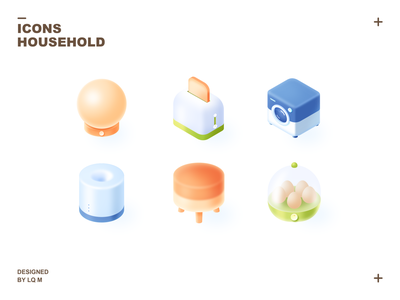 Household Icons 2 washing machine ui stool photoshop lamp isometric icons isometric icon humidifier furniture egg steamer bread machine 2.5d