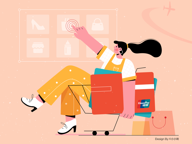 Global shopping credit card shopping character illustration