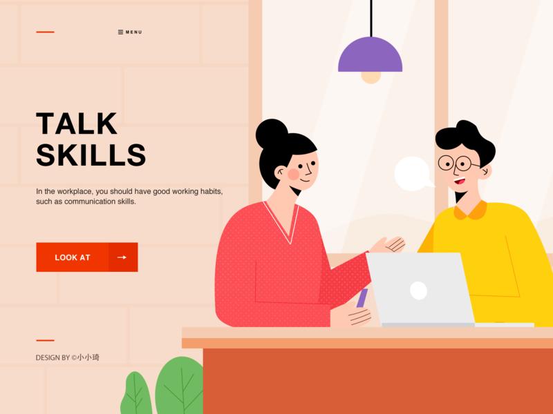 talk skills workplace talk character ui web illustration communication