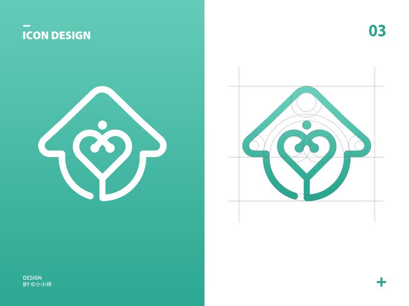 Family Health logo heart house medical branding health app icon logo