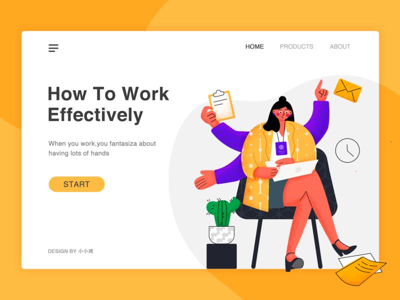 Work effectively app hand banner work web ui illustration