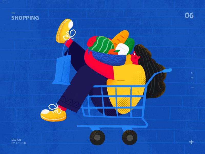 Shopping web character girl food shopping cart shopping banner design app ui illustration