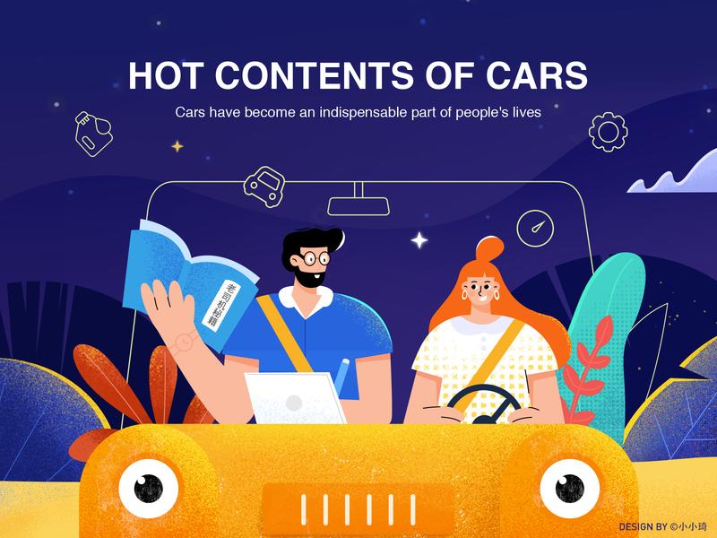 Driving night driving talk automobile car web banner design character illustration