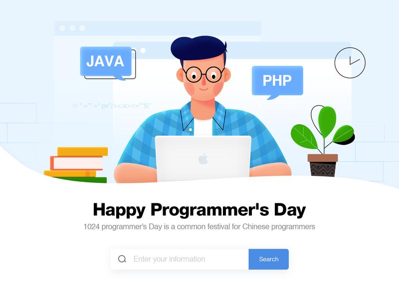Programmer book work web illustration character code