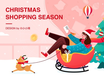 Christmas shopping sled winter elk card shopping christmas
