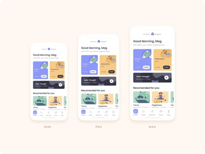 Slient Night (Meditation App) iphone 12 mockup iphone behance visual design uiux meditation ux app icon illustration ui minimalistic design