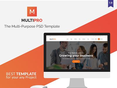 MultiPro | Multi-Purpose PSD Template website flat ux templates coder multi purpose template psd template multipro web ui design