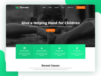 Danveer | Charity & Fund Raising Responsive HTML5 Template web ux ui typography website templates coder psd template flat design