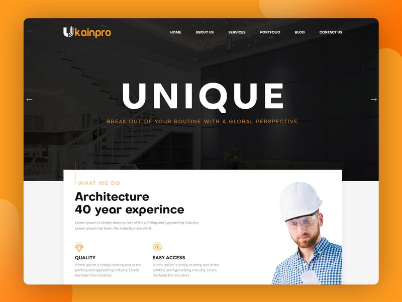 Ukainpro – Interior Design & Architecture HTML Template inspiration psd template construction website architect website portfolio website html template flat