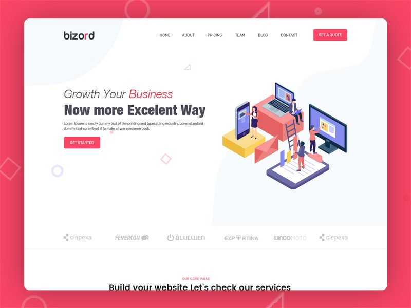 Bizord - Business Agency HTML Template one page design parallax animation bizord inspiration html template ux ui psd template flat business website agency website