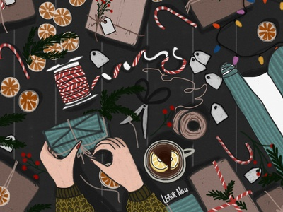 Gifts merrychristmas happy new year gift happy digital art drawing illustration
