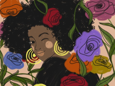 8 March: African woman happy womens day woman flowers digital art drawing illustration