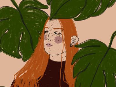 8 March: Redhead woman happy womens day 8 march woman happy girl digital art drawing illustration