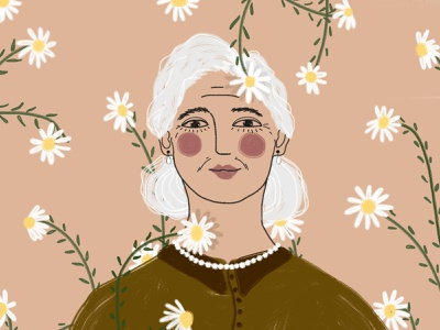 8 March: Elderly woman 8 march flowers woman happy girl digital art drawing illustration