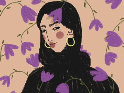 8 March: Muslim woman 8 march woman flowers girl digital art drawing illustration
