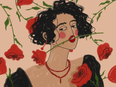 8 March: Spanish woman 8 march happy smile woman flowers girl digital art drawing illustration