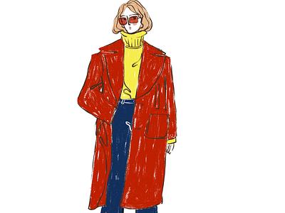 Fashion autumn fashion girl digital art drawing illustration