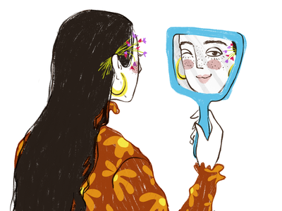 Mirror mirror woman flowers art digital drawing illustration