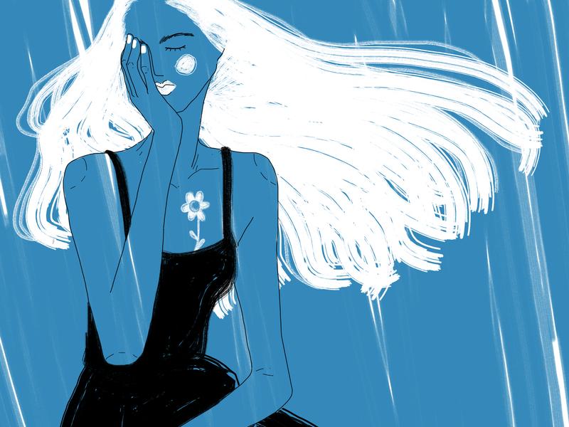 Blue woman flowers girl art drawing illustration