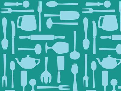 Utencils spoon fork knife vector pattern