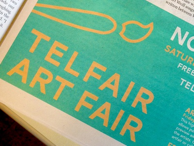 Artfair teal golden advertising typography paintbrush newsprint