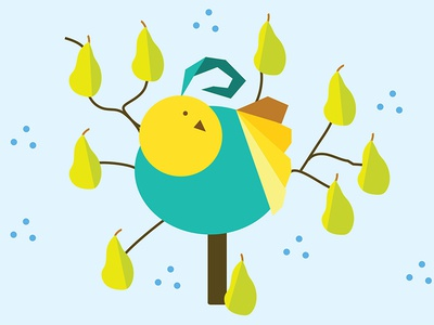 Partridge in a Pear Tree partridge pear 12 days christmas vector blue green bird yellow illustration
