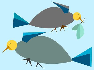 Akkerman Two Turtle Doves vector birds doves leaves blue grey illustration 12 days christmas