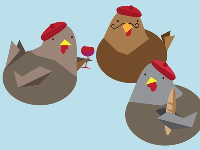 3 French Hens  vector hens french birds wine blue brown illustration 12 days