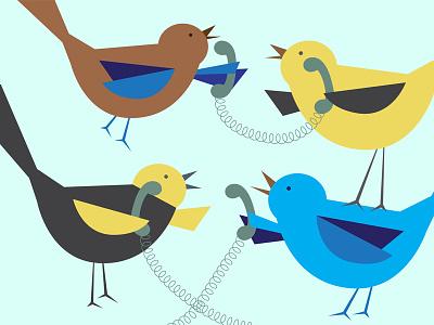 Four Calling Birds birds phone yellow blue calling vector illustration christmas 12 days