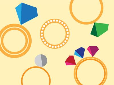 Five Golden Rings  illustration rings gold 12 days christmas gems diamond ruby vector