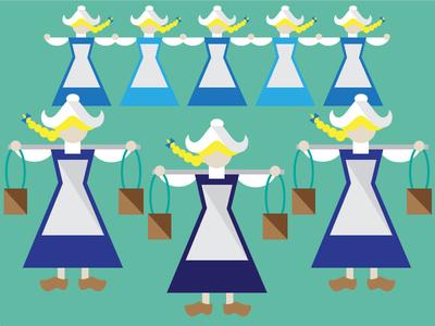 8 Maids A Milking illustration maids dutch blue green braid vector 12 days christams