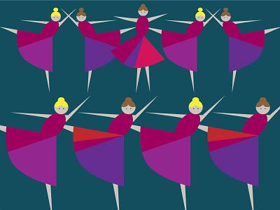 9 Ladies Dancing vector illustration dancing red 12 days christmas