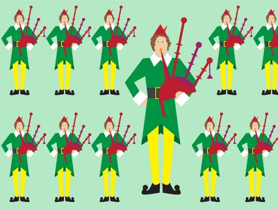 11 Pipers Pipping vector illustration bag pipes christmas 12 days green yellow red buddy elf