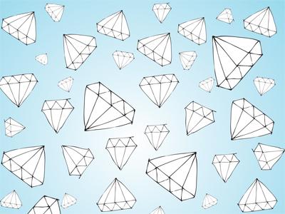 Diamonds repeat patter gem blue hand drawn