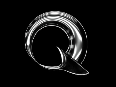 36 Days of Type - Q type chrome 3d c4d letter minimal branding redshift 36daysoftype07 36dayoftype design monochrome typography 36daysoftype