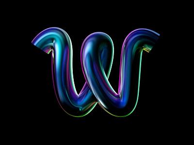 36 Days of Type - W chrome metalic 3d metal iridescent minimal logo letter c4d redshift clean design monochrome 36daysoftype07 36daysoftype typography 36dayoftype