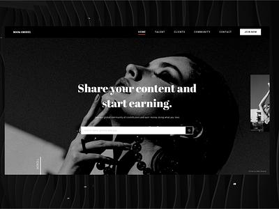 Model Booking Platform Website grayscale intense landing page desktop website black  white black modelling fashion dark noir design ux ui