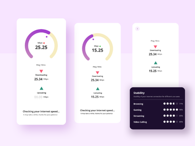 Network speed check app UI prototype figma adobexd smartphone application productdesign webstagram webdesign appdesign ios androiddevelopers android visualdesign visualart ui ux uiux