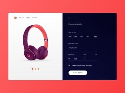 Everyday Ui #001 landing page ux ui uiux shop purple headphones design credit card checkout pink