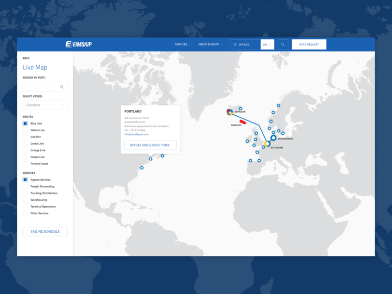 Eimskip Live Map iceland clean ui design filters logistics shipping schedule map