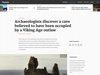 Article view for a news site typography type navigation feature heading header blog news article