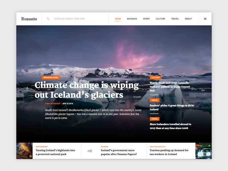 Compact news site concept ui typography search clean minimal sports features article news