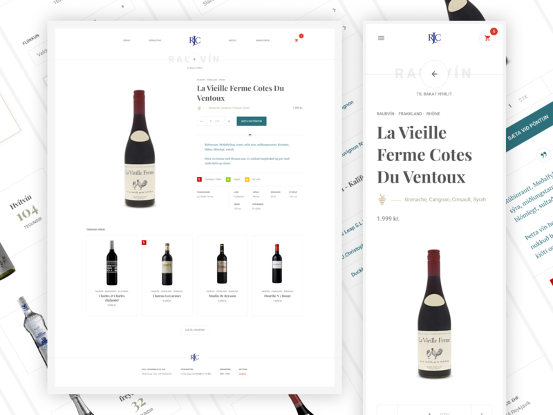 Rolf Johansen & Co. site preview mobile type simple minimal clean product card product wine importer
