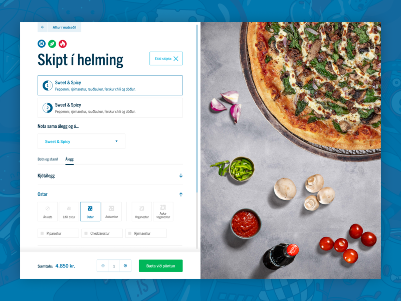 New Dominos Iceland website : Split the pizza ux design clean selection order ui design ui pizza dominos