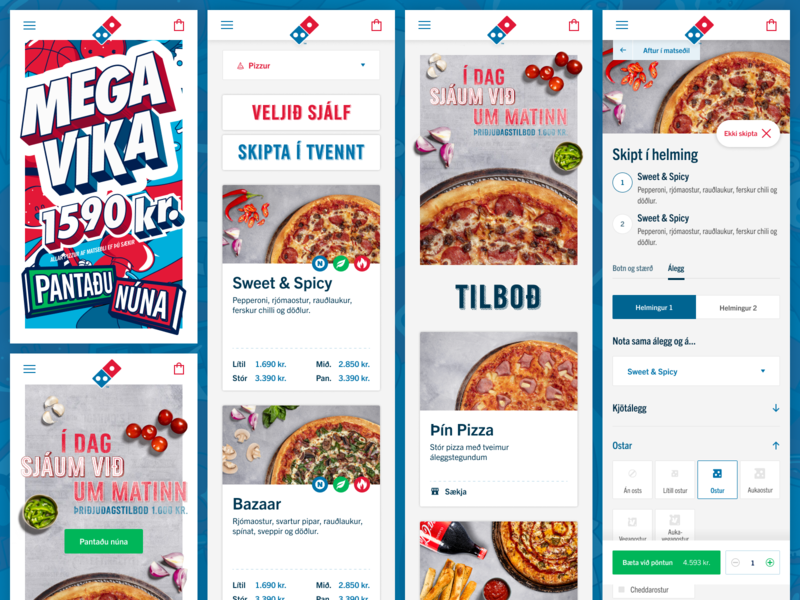 New Dominos Iceland website : Mobile screens cards product card order clean ui design mobile dominos pizza