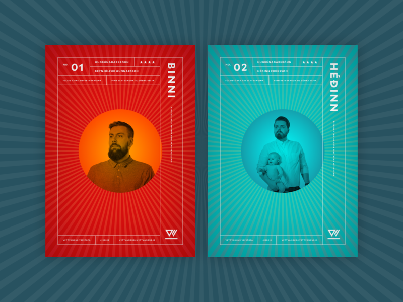 Vettvangur trading cards minimal clean agency design staff card