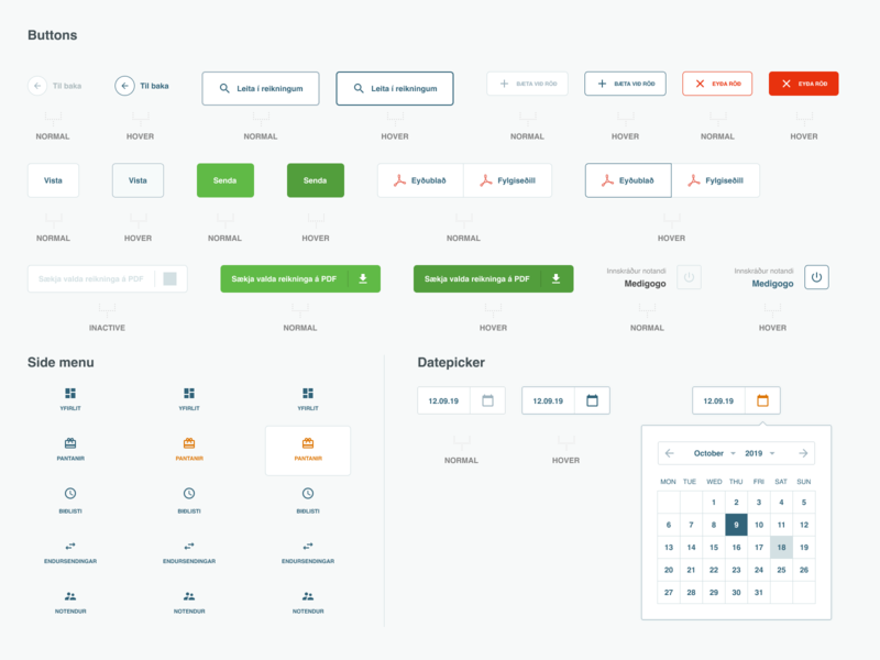 UI Assets simple minimal clean datepicker ui interaction forms buttons assets uidesign ui kit