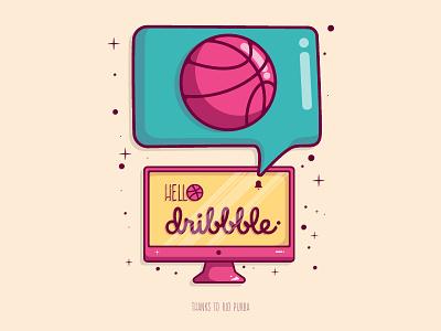 Hello Dribbble! flatvector texture ux ui cute design color doodle art flat vector doodleart doodle minimal animation vector flat branding design logo illustration