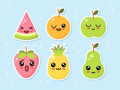 Kawaii Fruit Character set